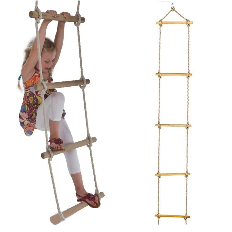 Rope Ladder Wooden For Kids 5 Rungs Swing Seat Set