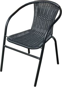 GARDEN OUTDOOR PATIO CHAIRS BLACK METAL FRAME WITH WICKER ...