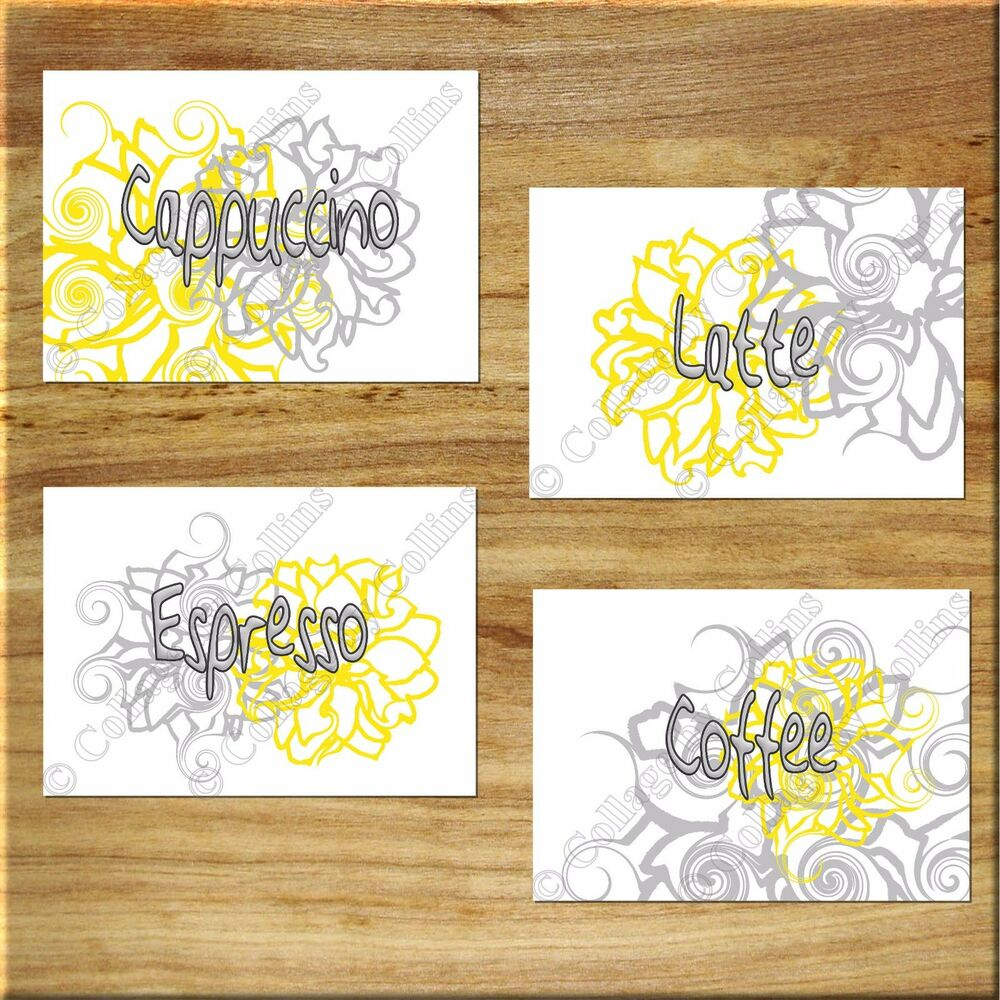 Yellow gray wall words art kitchen cafe flower floral