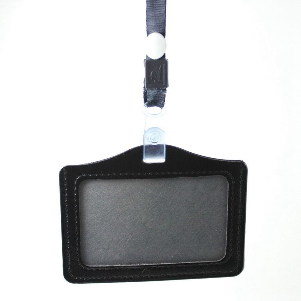 Card ID Badge Holder Leather Case + Lanyard Neck Strap