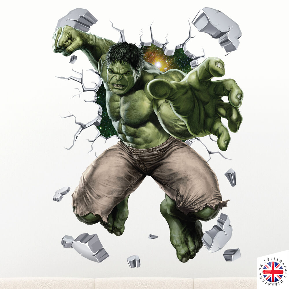 Ebay 3d Wallpaper Photo 3d Hulk Wall Sticker Vinyl Art Home Bedroom Marvel Poster