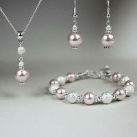 Blush pink pearl necklace bracelet earrings silver wedding ...