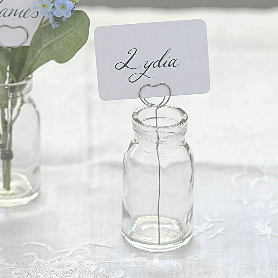 Milk Bottles For Decoration X2 Wedding Heart Name Card Holder Table Decoration Glass School Milk Bottles Ebay