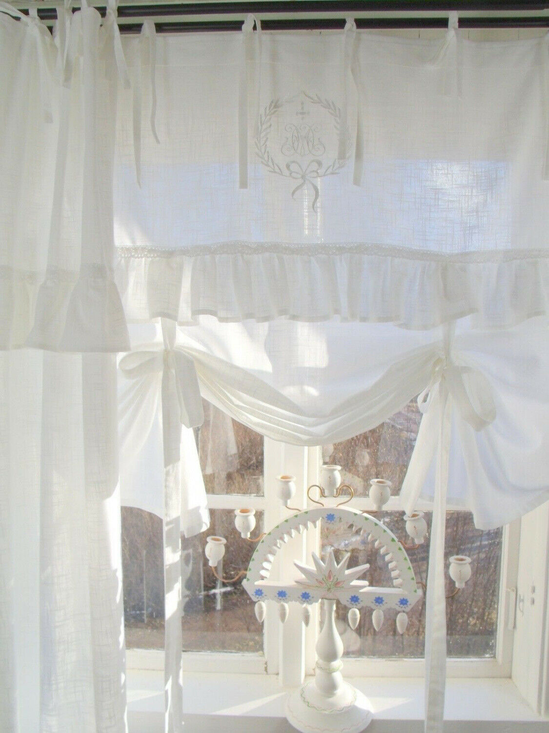 Rollo Landhaus Home, Furniture & Diy Raff Gardine Mathilde Weiss Rollo 140x100 Lillabelle Shabby Landhaus Curtain Douzenis.gr