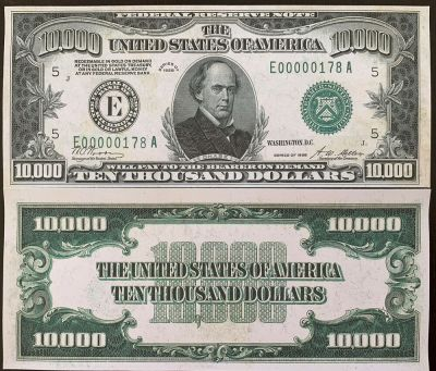 Reproduction United States 1928 $10,000 Bill Federal Reserve Note Copy USA | eBay
