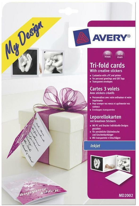 Avery My Design MD2002 Inkjet Printable Tri-fold Gift Cards Tags