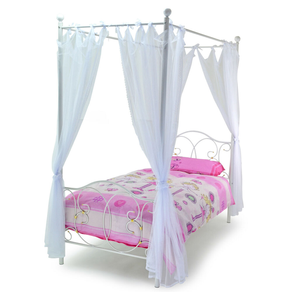 Single Four Poster Bed Kids Girls Ballet 3ft Single Four 4 Poster Bed Metal Princess White Gold Drapes Ebay