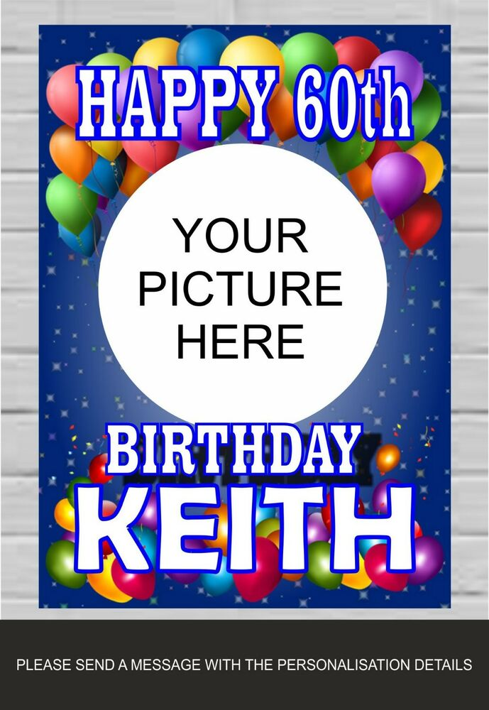 Happy Birthday Banner Poster Personalised Name 18th 21st 30th 50th