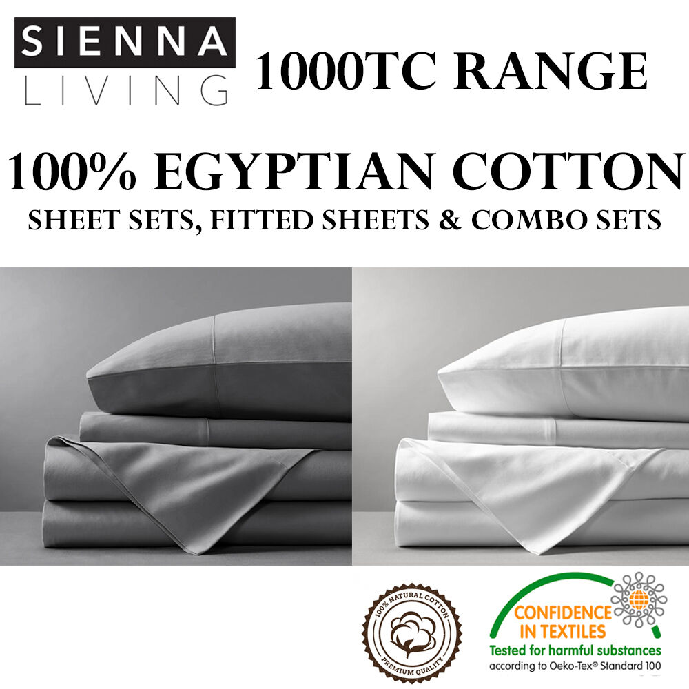 100 Egyptian Cotton Sheets 1000tc Thread Count 100 Egyptian Cotton Sheet Sets Fitted Sheets Combo Sets Ebay