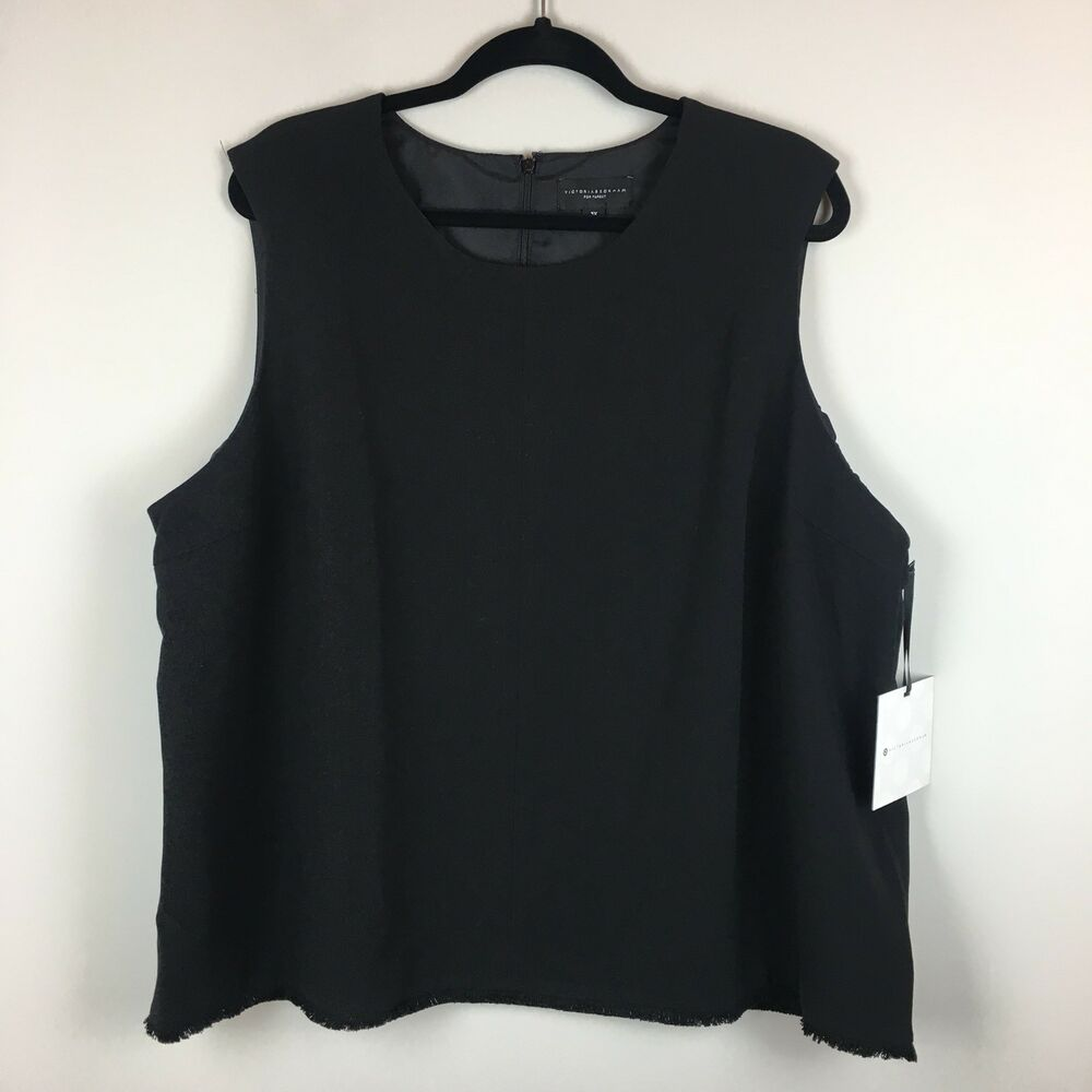 Target Office Wear Victoria Beckham For Target Top Women S Plus Size 3x Black Twill Fray Hem Career Ebay