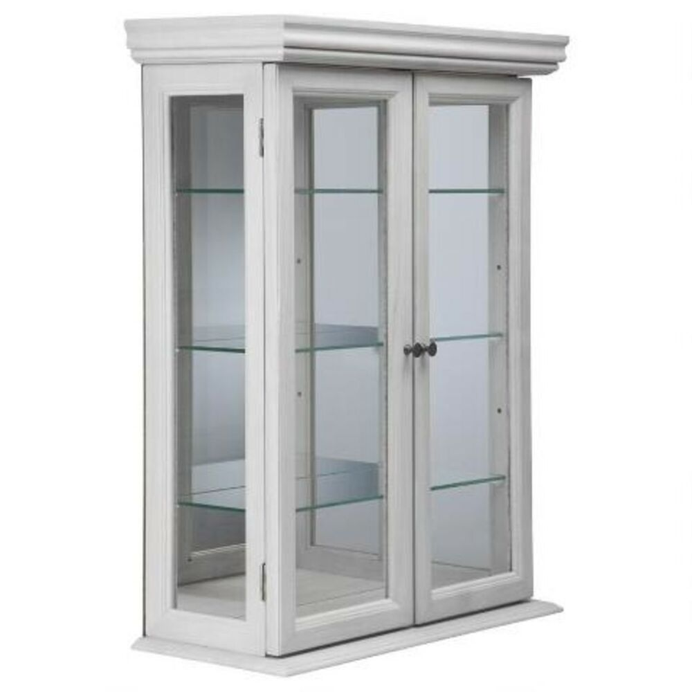 Wall Mounted Display Case Wall Display Cabinet White Curio Hardwood Glass Doors Shelves Wall Mount New Ebay