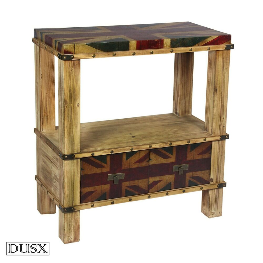 Retro Regal Vintage Retro Regal Union Jack Boys Room Two Drawer Console Table With Shelf 5056035100173 Ebay