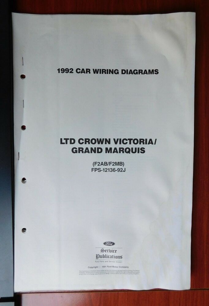 Ford 1992 Car Vacuum  Wiring Diagrams - LTD Crown Victoria / Grand
