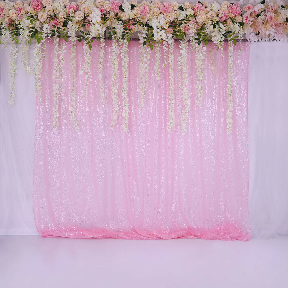 Pink Sequin Curtains Blush Pink Sequin Backdrop Curtain Photography Wedding Birthday Party Home Decor Ebay