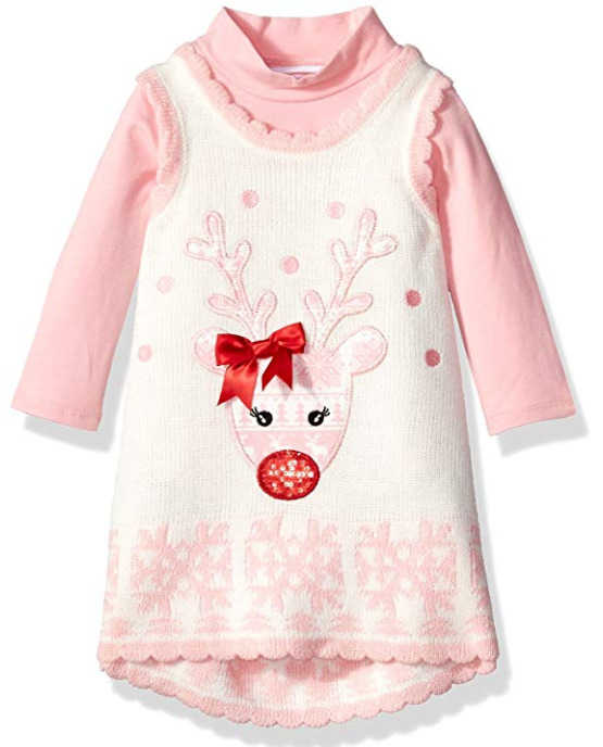 Bonnie Baby Baby Girls Holiday Reindeer Jumper Dress Ivory and Pink