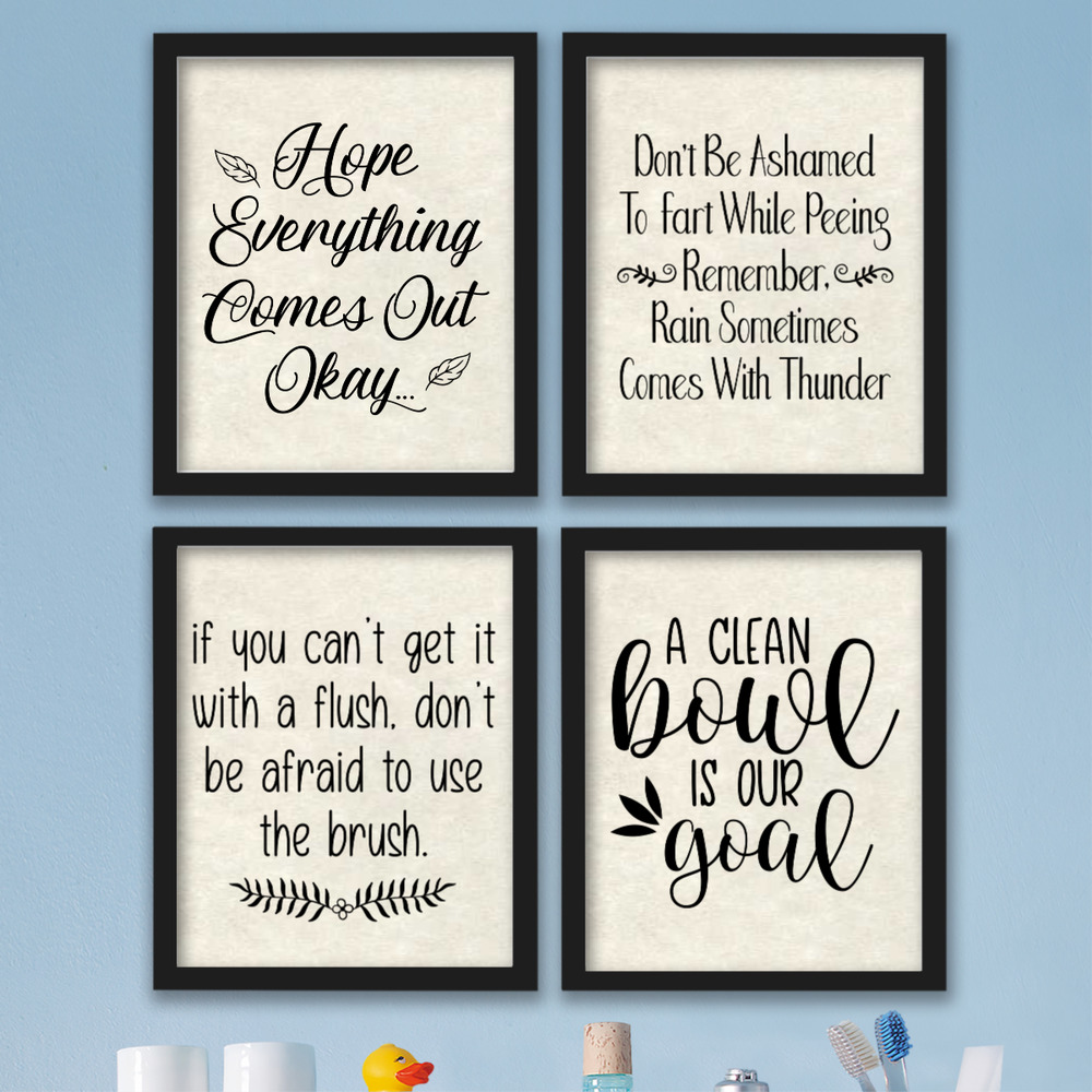 Funny Bathroom Wall Art Prints Farmhouse Decor Quotes Signs Pictures Gag Perfect Home Décor Posters Prints Garden Poster