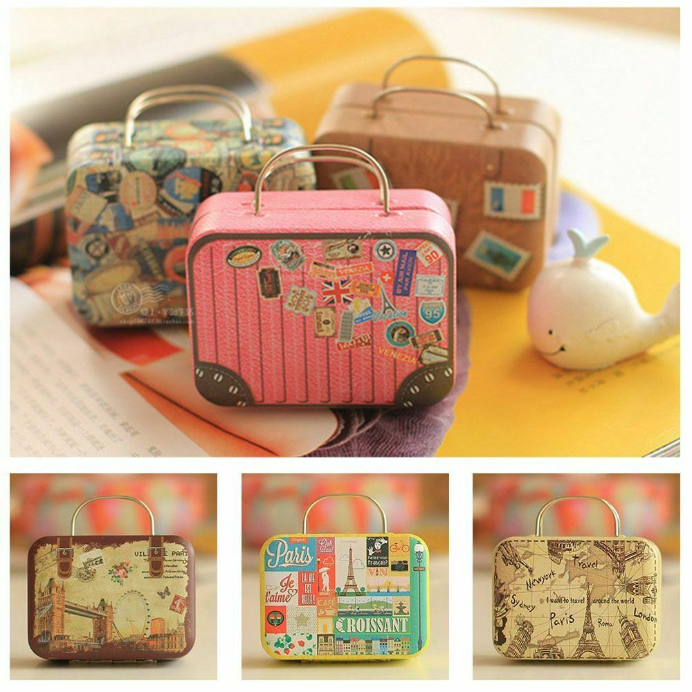 Storage Boxes Sydney Vintage Europe Type Suitcase Shape Candy Storage Box Wedding Tin Container Box Ebay