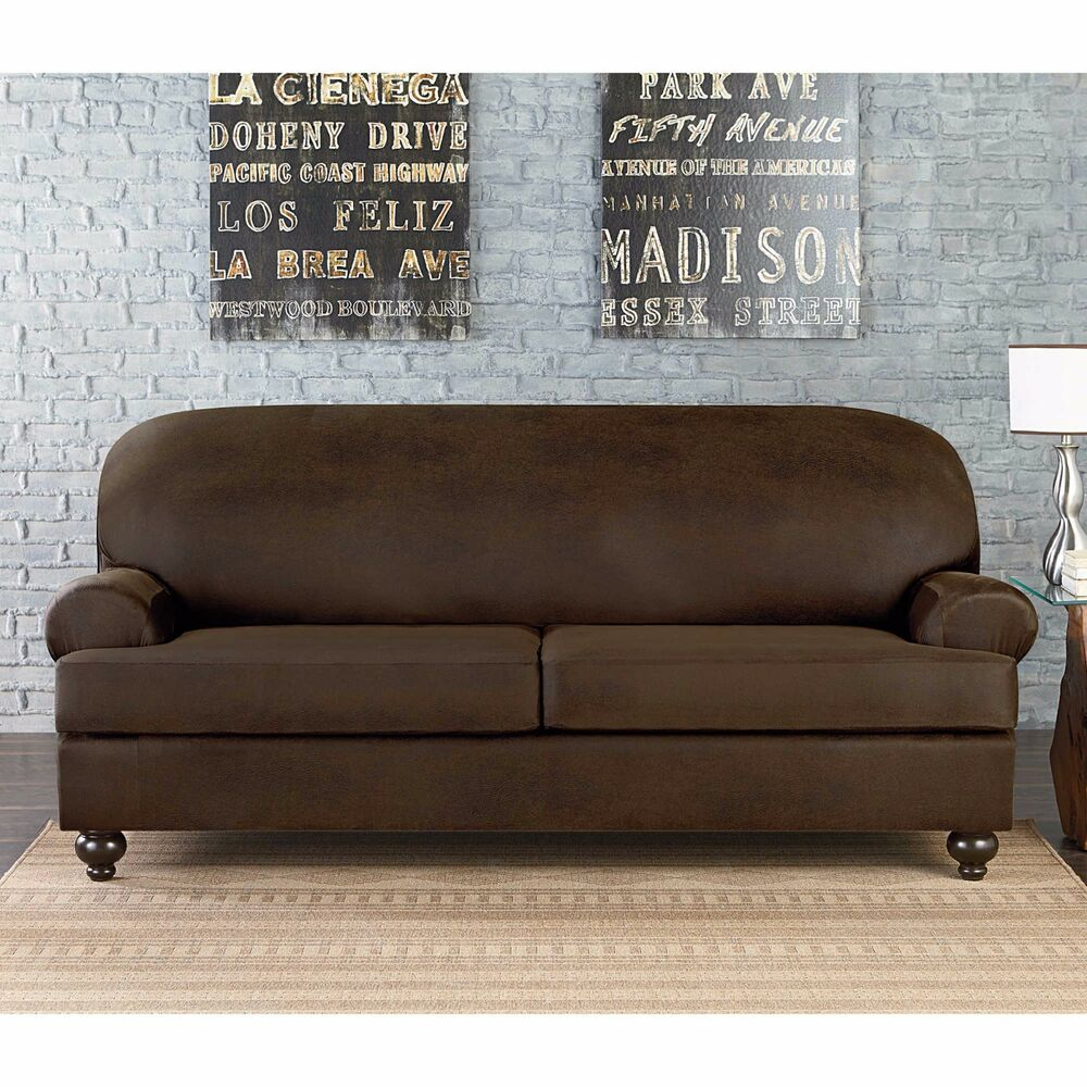Faux Leather Sofa In A Box New Sure Fit Vintage Faux Leather 2 Cushion Loveseat Slipcover T Or Box Ebay
