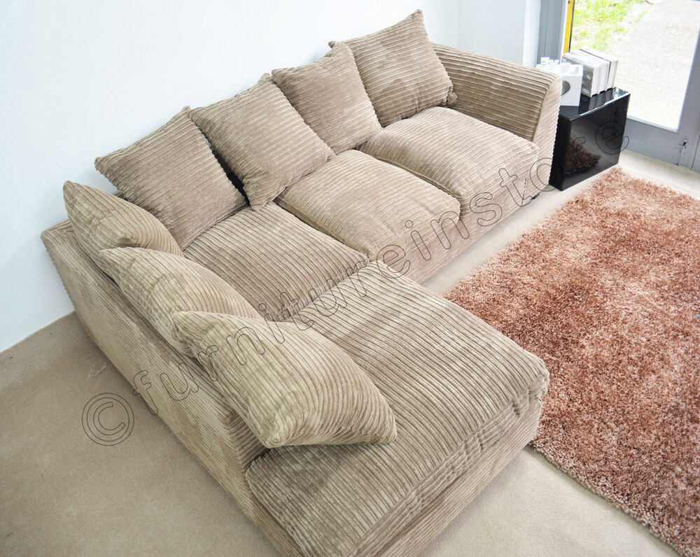 Sofa Cord Caramel Dylan Jumbo Cord Fabric Sofas Settee (left & Right ...