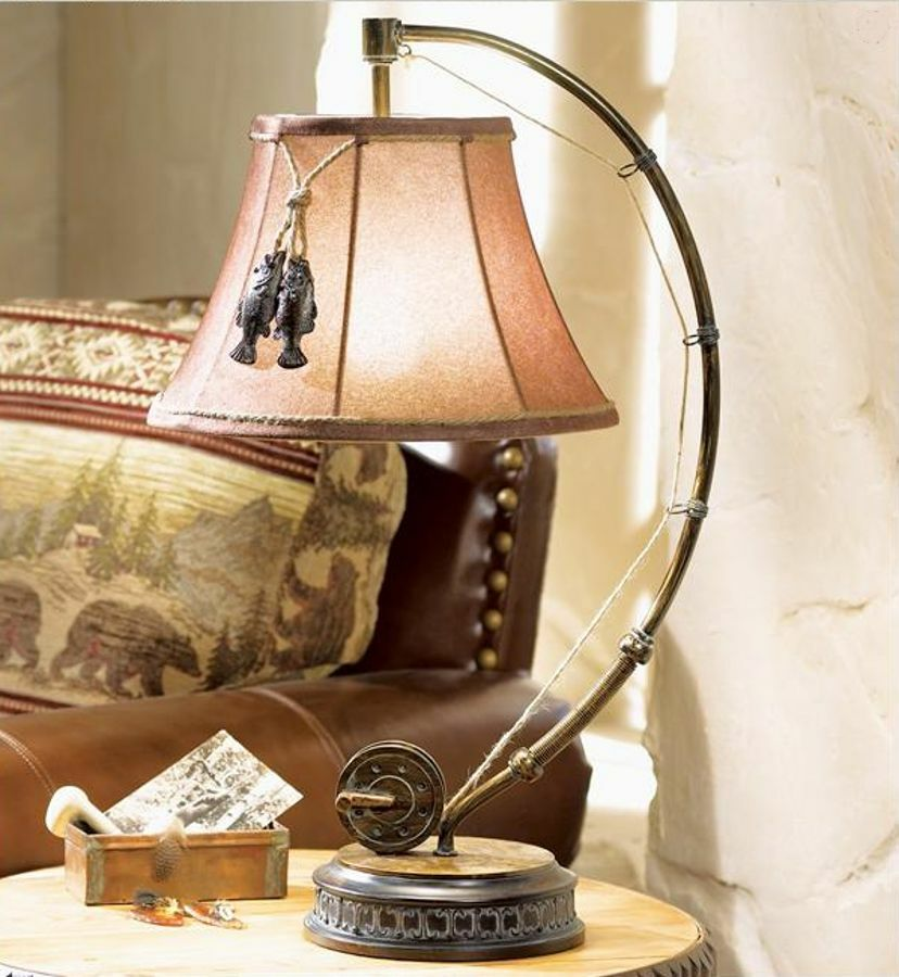 """""""Catch Of The Day"""" Table Lamp Fly Rod & Reel Fish Rustic"""