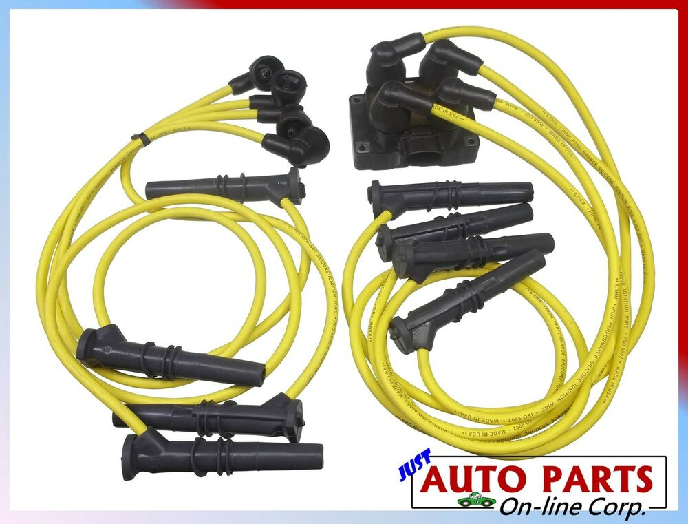 SPARK PLUG WIRES + 1 IGNITION COIL CROWN VICTORIA F-150 250 E-150