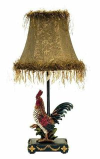 Petite Rooster French Country Colorful Table Lamp Fringe ...