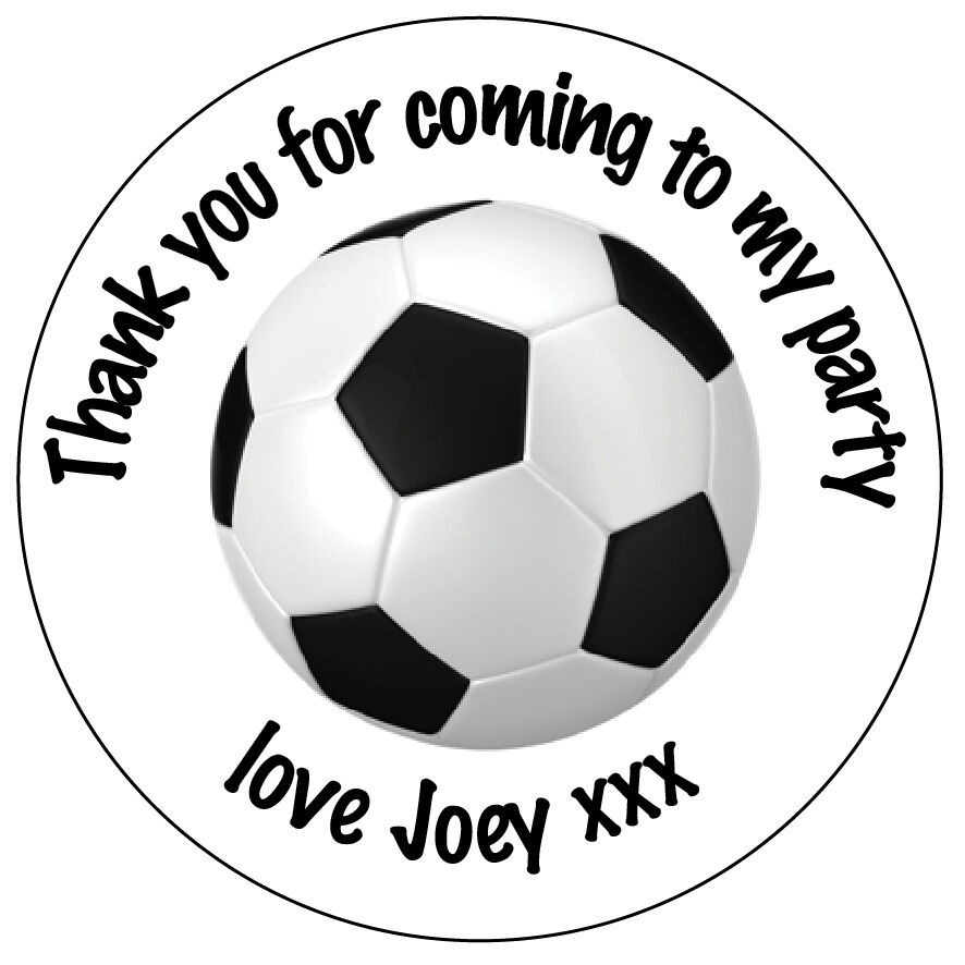 35 x Personalised Football Birthday Labels Stickers Party Thank You