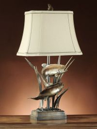 Upstream Fish Table Lamp Rustic Cabin Lake Lodge Trout