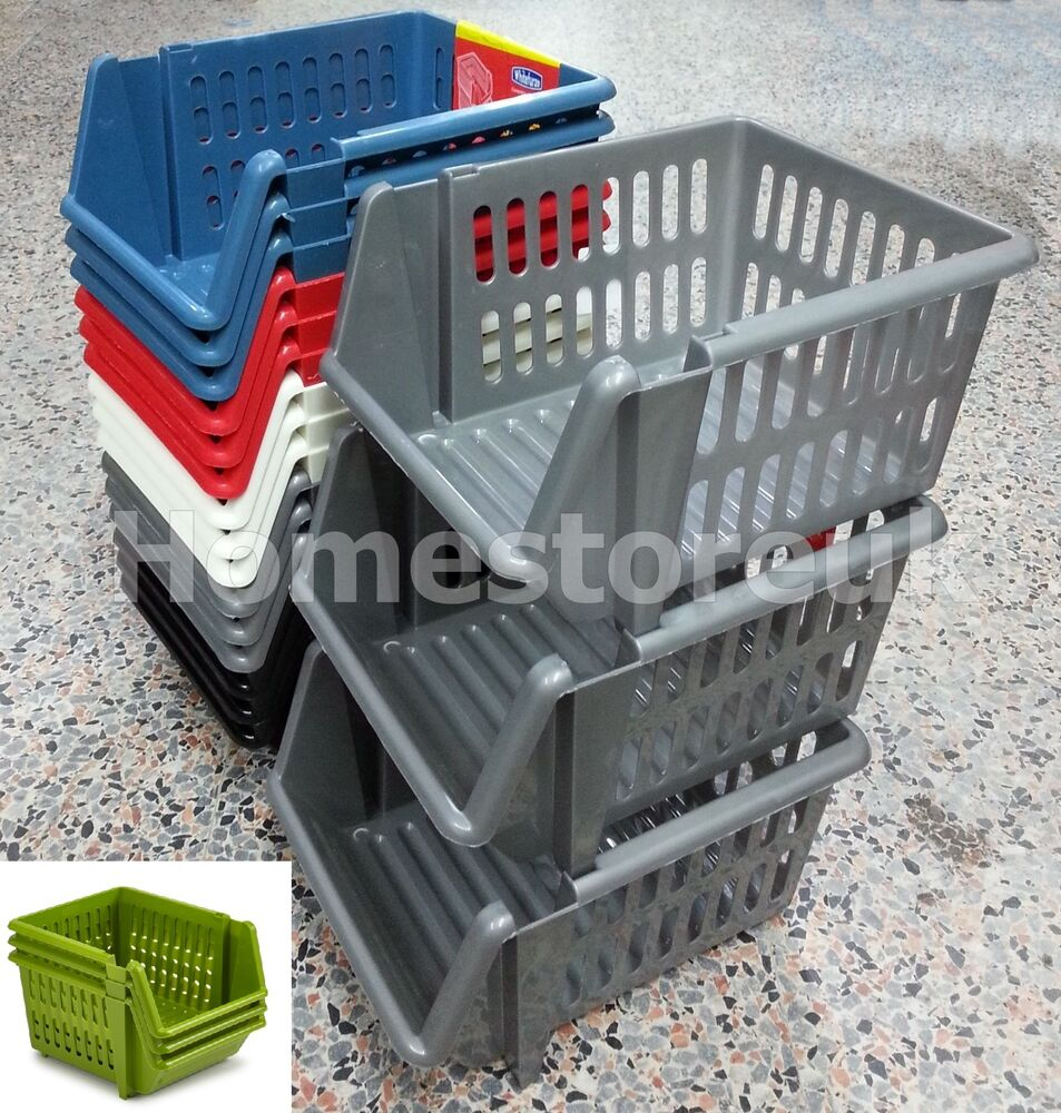 3 Tier Platic Stackable Storage Basket Holder Rack Stand