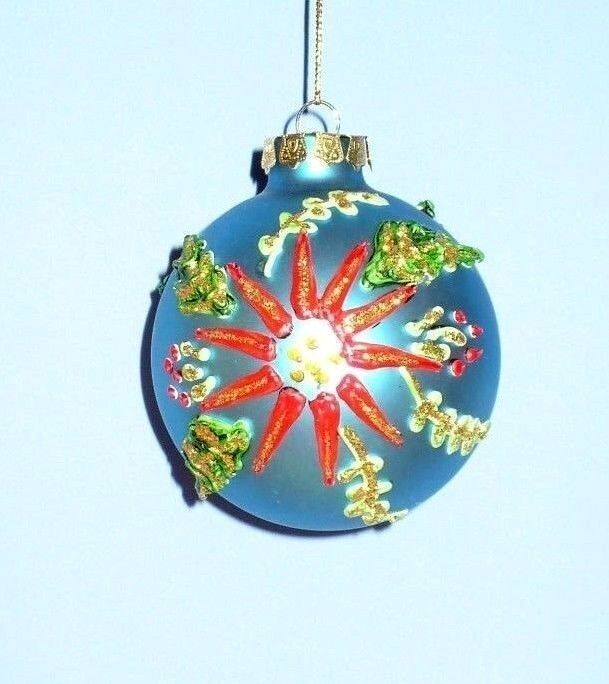 Vintage Christmas Glass Tree Ornament Hand Painted Puffy