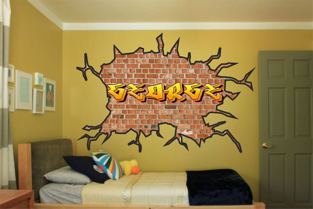 Large Personalised Name Graffiti Wall Art Sticker Boys