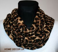 Large Soft Animal Leopard Print Circle Infinity Loop Cowl ...