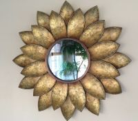 Golden Sunflower Mirror Wall Art Decor Galvanized Metal ...