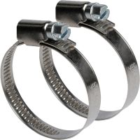 2x 32-50mm Stainless Steel Hose ClipsLarge Outdoor Pipe ...