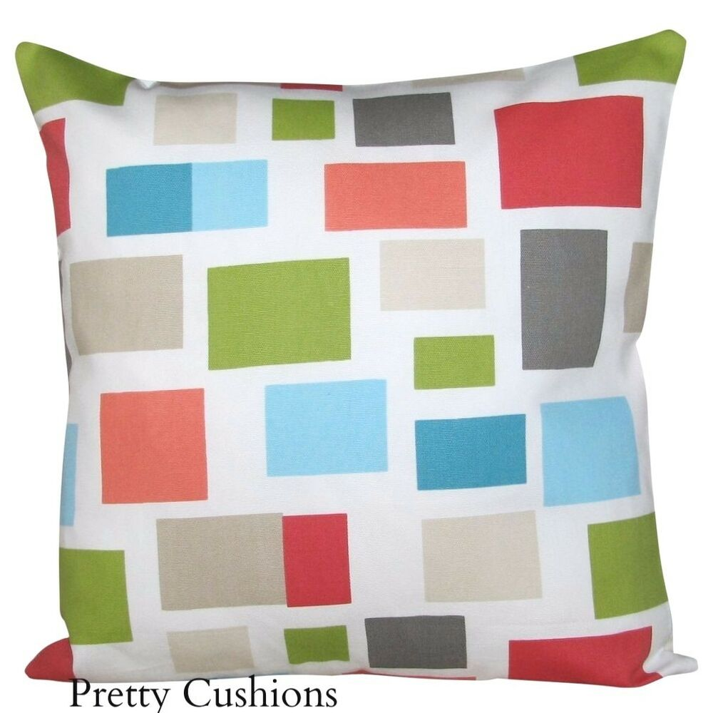 Retro Cushions Scion Blocks Coral Blue Retro Cushion Cover Ebay