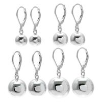 925 Sterling Silver Ball Drop Earrings with Lever Back (4 ...