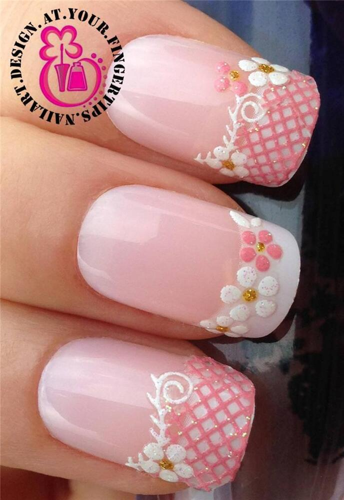 Pink White Glitter Nail Art Lace Water Flower Tips