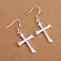 925 Sterling Silver Dangle Cross Hoop Pierced Earrings ...