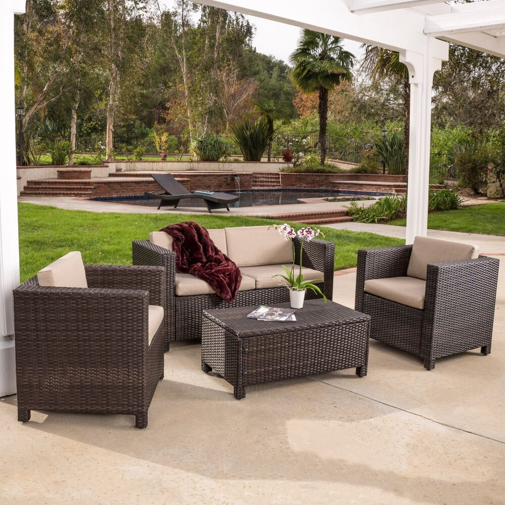 Sitzecke Rattan Outdoor Patio Furniture Brown Pe Wicker 4pcs Sofa Seating