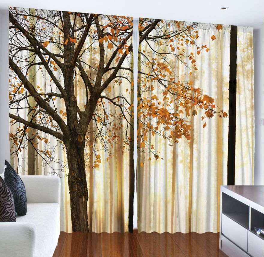WINDOW CURTAIN PANEL Autumn Falling Leaves Fall Tree