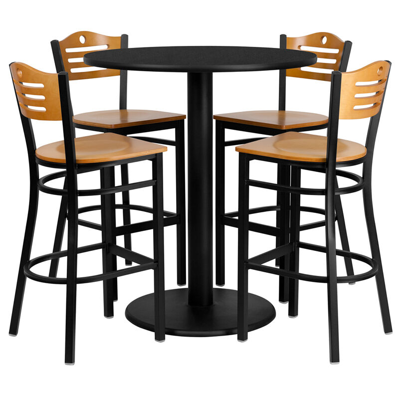 36quot Round High Top Restaurant Cafe Bar Table And Wood Seat