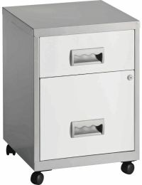 Pierre Henry 2 Drawer Metal Combi Filing Cabinet - Silver ...