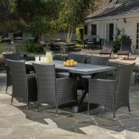 Outdoor 7-piece Grey Dining Set with Grey Cushions | eBay