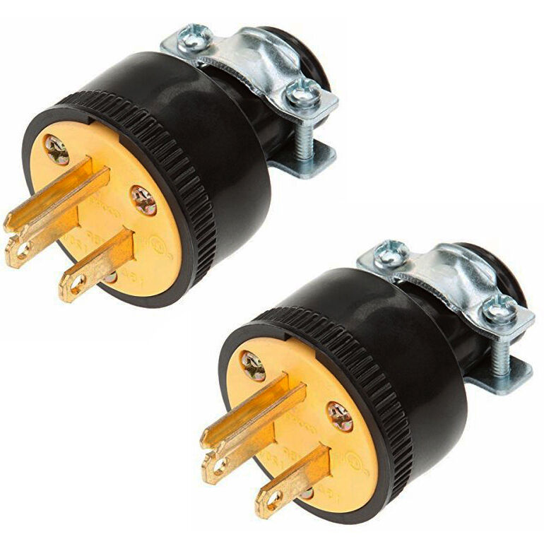 2pc Heavy Duty 3-Prong Male Extension Cord Electrical Plug
