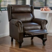 Traditional Dark Brown Leather Recliner Club Chair | eBay
