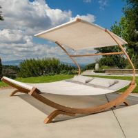 Outdoor Patio Lounge Daybed Hammock w/ Adjustable Shade ...