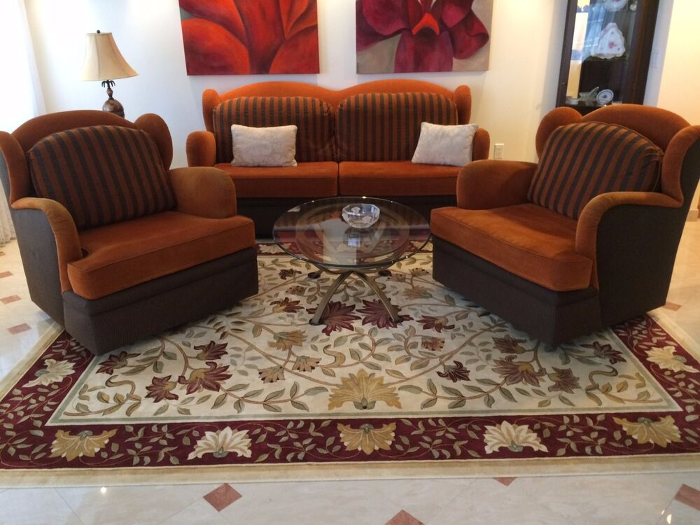 Modern Art Deco Sofa Couch Two Chairs Set Living Room