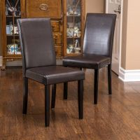 (Set of 2) Dining Room Brown Leather Parson Dining Chairs ...