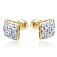Mens Ladies 10K Yellow Gold Designer Square Micro Pave