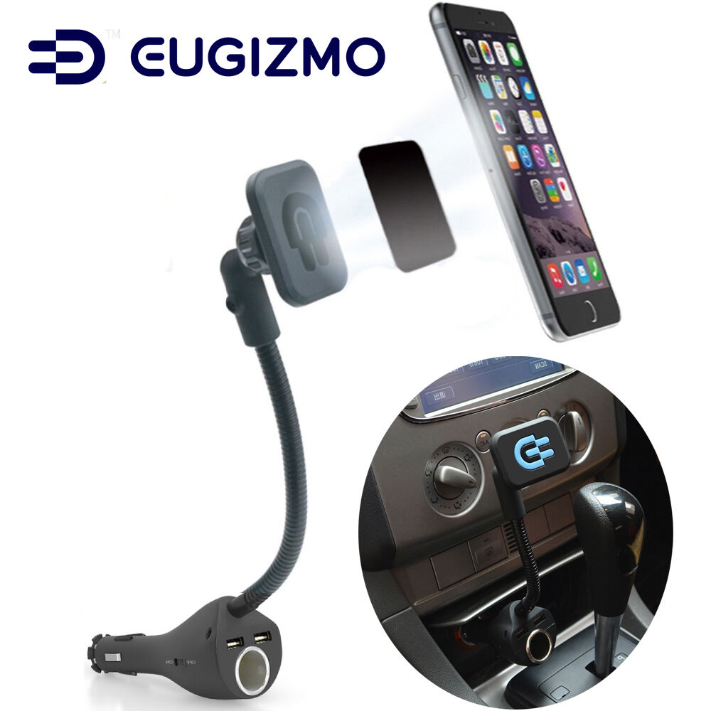 Eugizmo Car Magnetic Phone Holder With Dual Usb Port